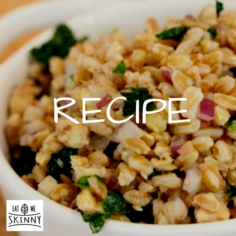 RECIPE – Balsamic Farro Salad With Sauteed Vegetables Over Mixed Green Salad (Preview from my meal plan)!